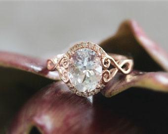 7x9mm Oval Cut Aquamarine Ring Halo Diamond Ring 14k Rose Gold Wedding Ring Aquamarine Engagement Ring