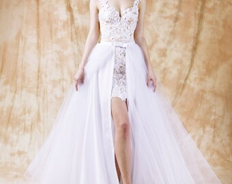 Bridal Overskirt Tulle Wedding  Bridal Wedding Overskirt Overskirt Detachable Tulle Skirt Maxi Tulle Skirt Tulle Wedding Skirt With a Train