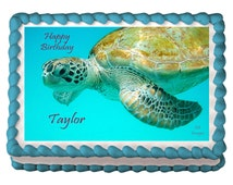 Sea Turtle, Edible Party Image. Personalized Edible Icing Cake Topper.