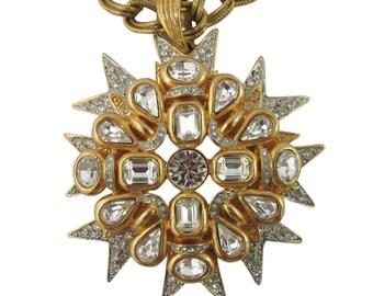 """Signed Kenneth J Lane """"K.J L"""" Matte gold plated crystal star burst pendant - c.1970"""