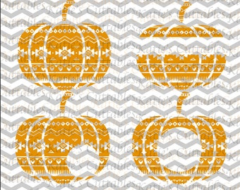 Aztec Pumpkin, Aztec Pumpkin Monogram Frame .SVG/.DXF/.EPS and .Png Files for all Vinyl Cutting Machines