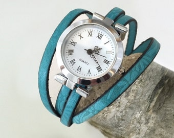 Watch bracelet colorful blue leather engraving dial retro, Wedding in blue