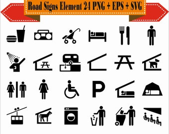 Road Signs Element Motif Human Parking Food Shapes Pack Silhouette Vector Clipart PNG EPS Digital Files Scrapbook Supplies Instant Download