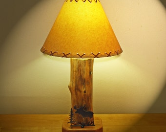 "The Caribou Mountain Table Lamp w/14"" Parchment Shade"