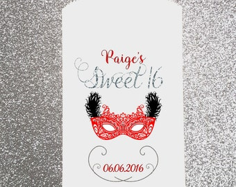 B2, Happy Birthday, Girl, Sweet 16, Masquerade, Ball, Candy Bag, Candy Buffet, Favor Bag, Treat Bag, Personalized bag, Quinceanera, Dance