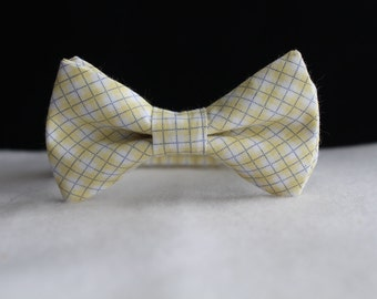 Yellow gingham bow tie for boys, baby, toddler and teens, Wedding bow tie, ring bearer bow tie, little boys bow tie, Yellow bow tie,