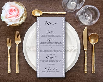 Stylish Printable Wedding Menu, Custom Wedding Menu Printable, Wedding Menu Template - Digital File, DIY Print WD41 WM12