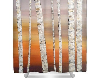 Shower Curtain, Sunset Birches, by JA Cahill Art
