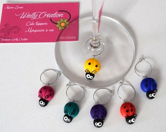 Glass of wine, small ladybugs in polymer markers. Set of 6 markers.