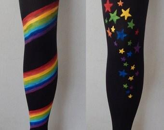 Rainbow Leggings, Colorfull stars Leggins, Fashion tights, Fashion leggings, Modern painted leggings, Colorful leggings