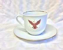 Patriotic Eagle Golden Crown E and R China Cup & Saucer By Bavaria Schumann Arzberg Germany,  Hard to find in Excellent Condition