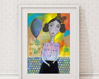 "Manifesto, typographic print, Giclee Art Print, Mixed Media, statement, mantra, ""She said yes"", female portrait, figurative, Girl"