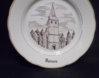 Decorative plate made of porcelain, published by the catholic church from Duiven (the Netherlands).