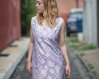 Vintage Purple and Silver Metallic Brocade Sleeveless Maxi Dress Gown