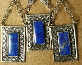 Collector Grade Lapis Lazuli Antique Art Deco Necklace Earring Set