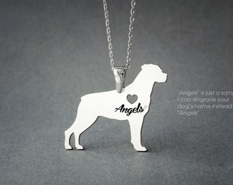ROTTWEILER NAME Necklace - Rottweiler Necklace - Personalised Necklace - Dog breed Necklace - Dog Necklace