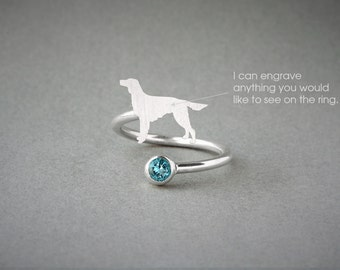 Adjustable Spiral IRISH SETTER BIRTHSTONE Ring / Setter Birthstone Ring / Birthstone Ring / Dog Ring