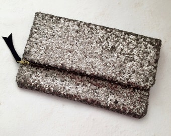 Sequin clutch, Sequin fold over clutch, Fold clutch, Pewter sequin clutch, Sequin purse, Bridesmaid clutch, Sequin zipper clutch, Purse