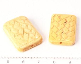 bone beads knit motif rectangle 2pcs/O-0009