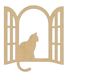 Cat Sitting In Window Cutout Shape Laser Cut Unfinished Wood Shapes, Craft Shapes, Gift Tags, Ornaments #808 All Sizes