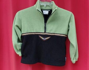 OBERMEYER green/black fleece pullover / kids/preschool LARGE L