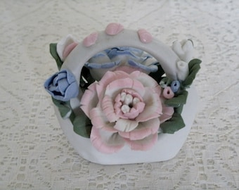 Vintage Basket Of Roses Figurine, collectable home decor cottage chic decoration retro victorian flower floral ceramic french country
