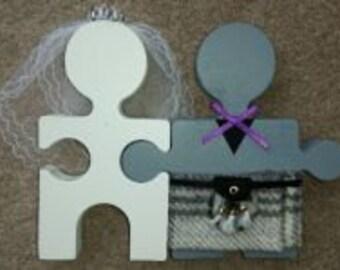Custom Handmade Scottish Bride & Groom Mr And Mrs Jigsaw cake topper or table decoration