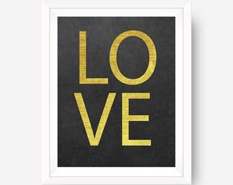 Gold LOVE Wall Art Gold Print Chevron Wall Art Minimalist Print Art INSTANT DOWNLOAD 8x10