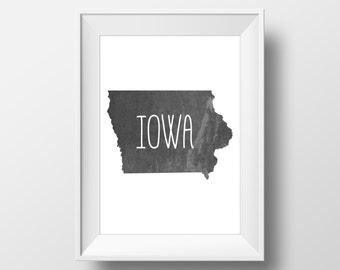 Iowa State Black Chalkboard Printable Art, Iowa Print, Iowa Art, Modern Art,