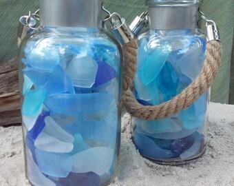 Nautical Beach Glass Decor Jar With Rope Handle in Sapphire Mediterranean Caribbean Cerulean Cobalt Blues