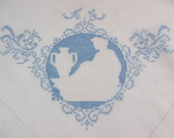 Large hand embroidered tablecloth, worn, table cloth, Toille / Grecian style embroidery, blue and white