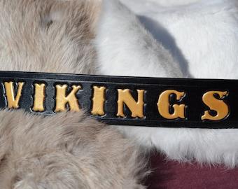 VIKINGS BELT - Black & Gold Leather