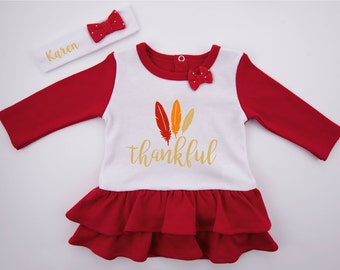 First Thanksgiving Girl Outfit, THANKFUL Baby Dress & Personalized Baby Headband, Thanksgiving Baby Girl Clothing, Baby Girl Thanksgiving