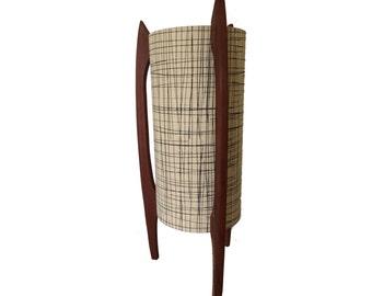 Mid century lamp with designer fabric shade