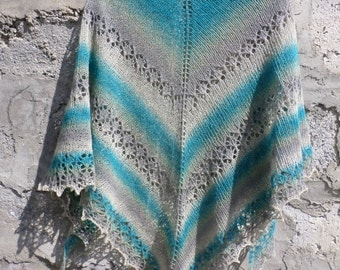 Wool Shawl. Hand Knit Lace Shawl. Free Shipping. Knit triangular shawl. Ready to ship. Knitted Shawl
