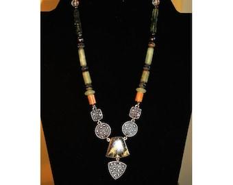 Gicker Custom Designed Necklace & Earring Set, SS w Stones
