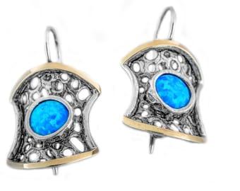 Gold blue Opal earrings, Silver Opal, teardrop bridal earrings, bridesmaid earrings, October birthstone Earrings, , handmade