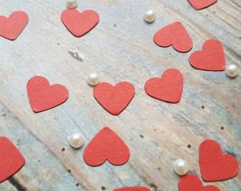 Romantic Red hearts table confetti decoration .Wedding ,love anniversary Eco