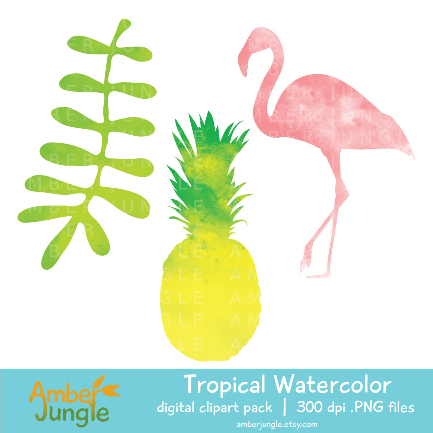 Tropical Watercolor Clipart- Flamingo Pineapple Clip Art ...