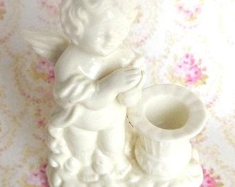 ON SALE Porcelain Cherub Candle Holder, Cherubs, Home Decor, Vintage Candle Holder, Vintage Decor, Vintage Cherub, Porcelain Candle Holder