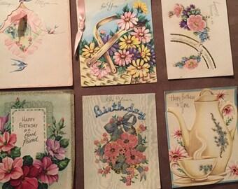 Lot of six used vintage birthday cards