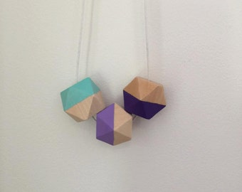 Geometric colourful chunky necklace //hand painted wooden bead necklace // lilac purple and aquamarine