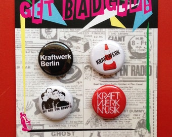 Kraftwerk 1 inch badge set of four