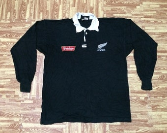 Rare Vintage 90s CANTERBURY New Zealand All Black STEINLAGER Rugby Team Jersey Official License Product Medium Size