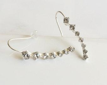 Crystal Ear Pin Earrings, Silver Earrings, Minimalist Earrings, Simple