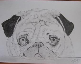 """dessin animalier chien """"un calin """"? crayon graphite"""