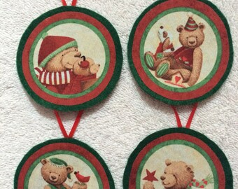 Teddy Bear Christmas Ornaments-Set of four ornaments!