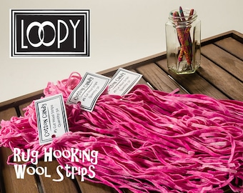 Rug Hooking Wool Strips Pink (Cotton Candy), hand dyed, 100% wool (50 Strips)