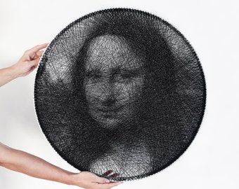 portrait, painting, art, Mona Lisa, String Art, Thread, personalized gift, wheel, Anniversary gift, painting for interior,  birthday gift