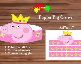 Peppa Pig paper Crown, Paper Crown, PDF, Instant Download